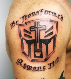 Cool transformers logo tattoo