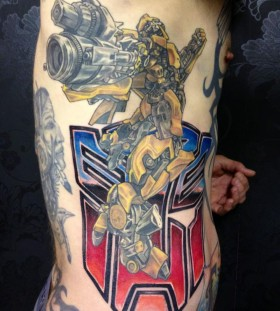 Cool transformers side tattoo