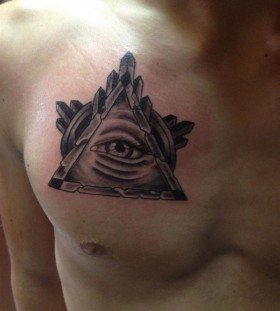Cool triangle eye chest tattoo