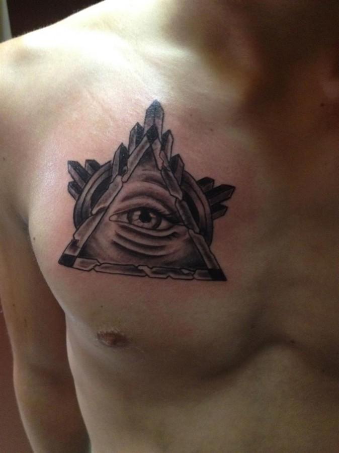 Cool Triangle Eye Chest Tattoo Tattoomagz Tattoo Designs Ink
