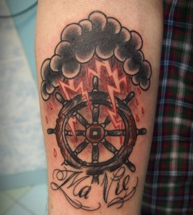 Cool wheel and lightening tattoo