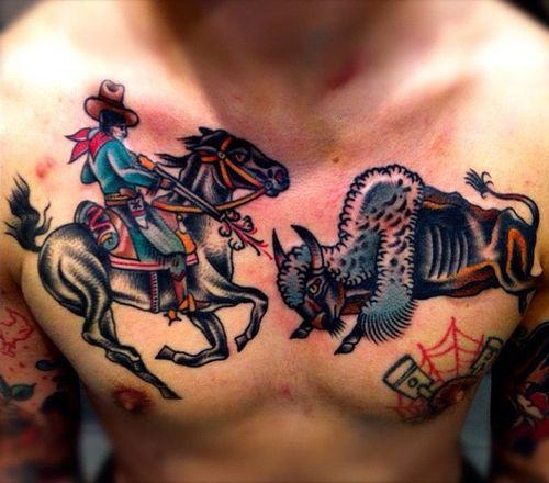 Cowboy hunting tattoo by Charley Gerardin