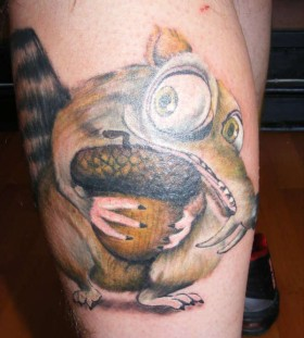 Crazy Scrat leg tattoo