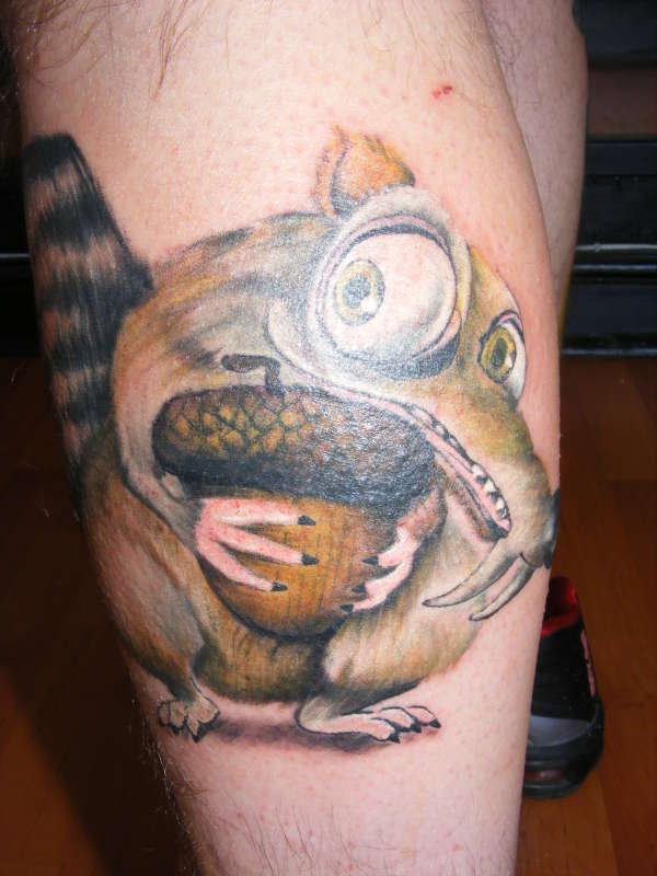 Crazy Scrat leg tattoo