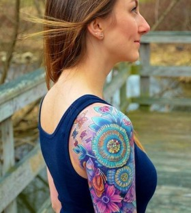 Crazy shoulder watercolor butterfly tattoo