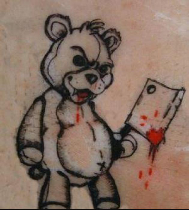 Crazy teddy bear tattoo