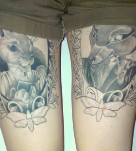 Creative bunny and fox frame tattoos