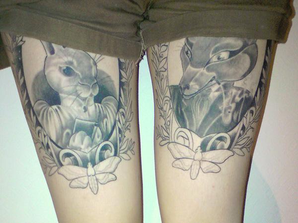 Creative bunny and fox frame tattoos