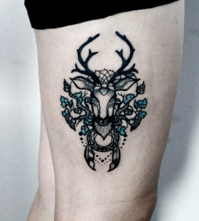 Creative deer tattoo design