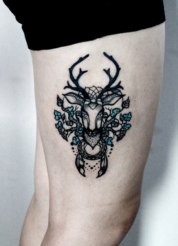 Creative deer tattoo design