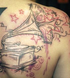 Creative gramophone back tattoo