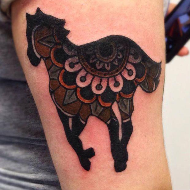 Creative horse tattoo by Matt Cooley