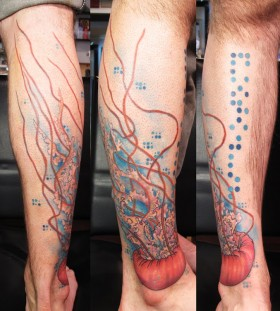 Creative jellyfish arm tattoo