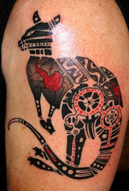 Creative kangaroo tattoo