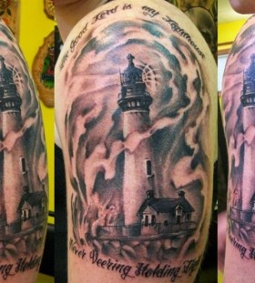 Creative lighthouse and quote tattoo