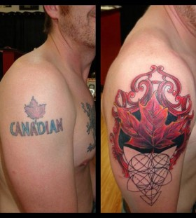 Creative maple leaf tattoo