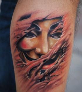Creative mask of V tattoo