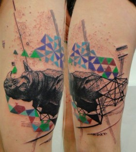Creative rhino leg tattoo