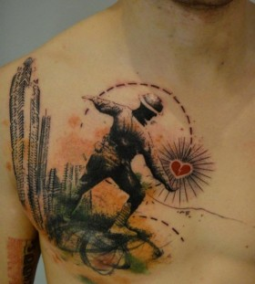 Creative soldier chest tattoo