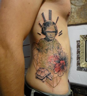 Creative xoil side tattoo