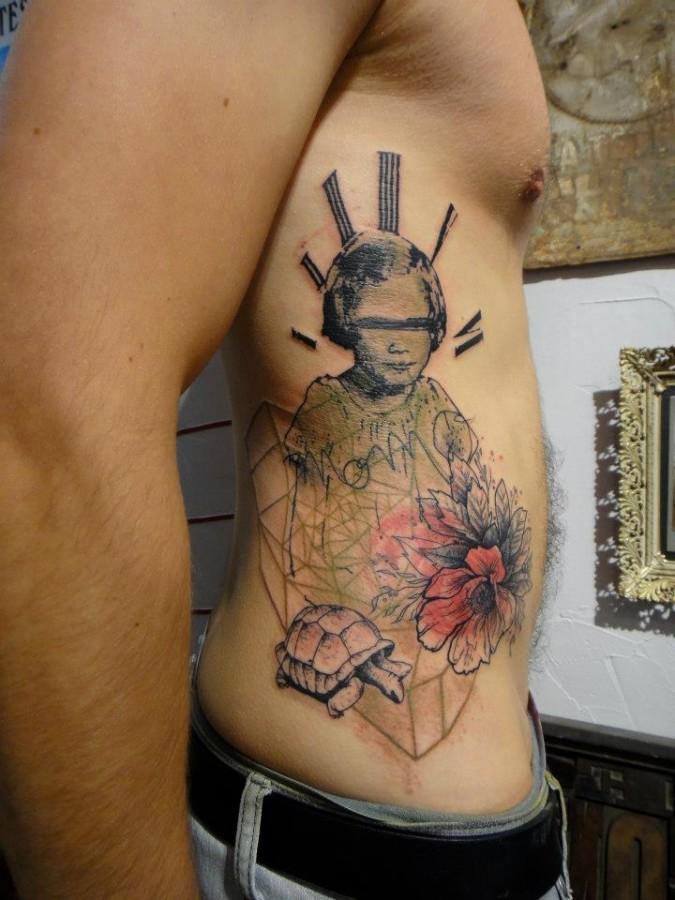 Creative xoil side tattoo