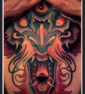 Creepy monster tattoo by Lars Uwe Jensen