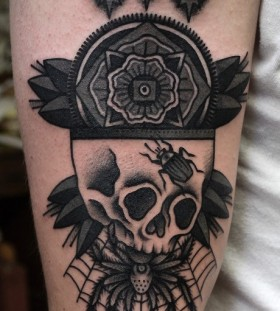 Creepy skull and spider tattoo by Philip Yarnell