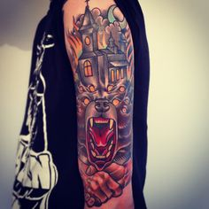 Creepy wolf and house tattoo by Alex Dorfler