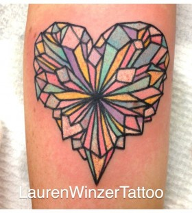Crystal heart tattoo by lauren winzer
