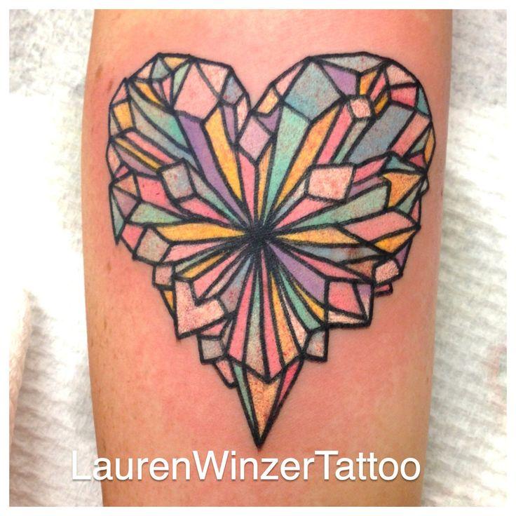 Crystal heart tattoo by lauren winzer
