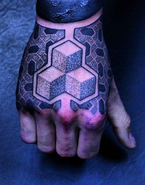 Cube hand tattoo by Gerhard Wiesbeck