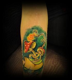 Custom mushroom tattoo design
