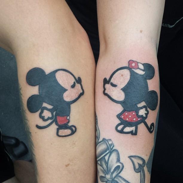 Cute Minnie and Mickey tattoos