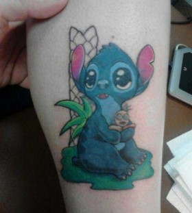 Cute Stitch leg tattoo