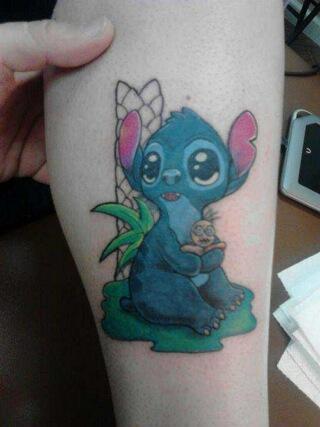 Cute Stitch leg tattoo