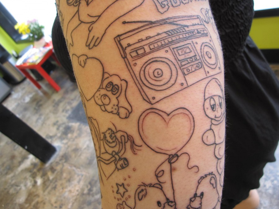 Cute boombox and pets tattoo