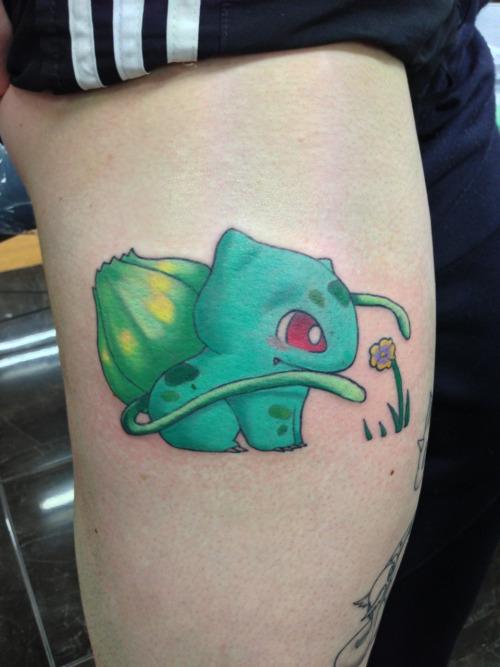 Cute bulbassaur Pokemon tattoo