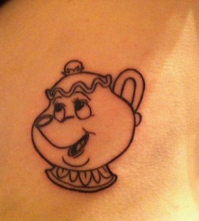Cute cartoon teapot tattoo