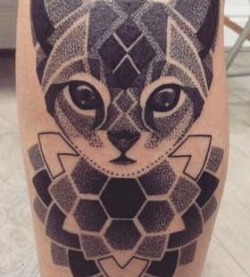 Cute dot work cat tattoo