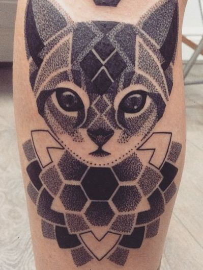 Cute dot work cat tattoo
