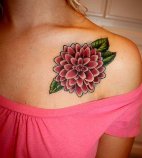 Cute dahlia collarbone tattoo