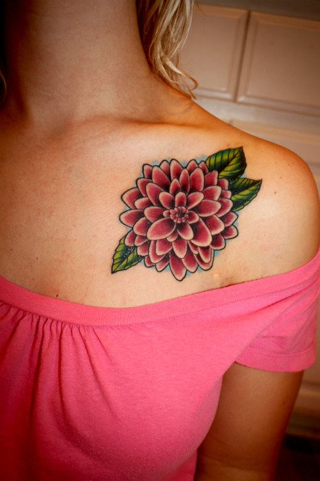 Cute dahlia collarbone tattoo