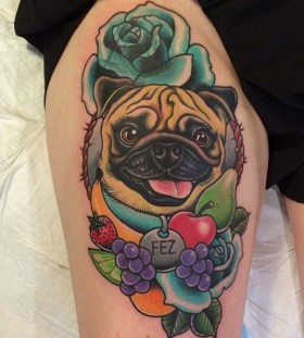 Cute dog and fruit tattoo by Clare Hampshire