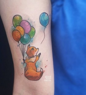 cute-fox-and-balloons-watercolor-tattoo