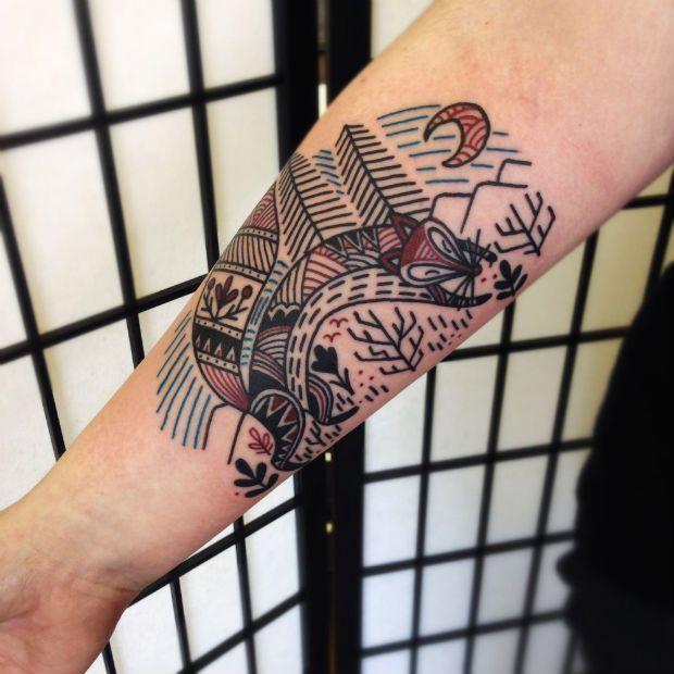 Cute fox tattoo by Matt Cooley