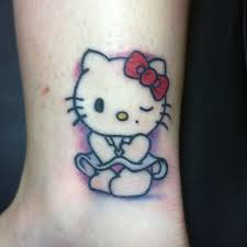 Cute hello kitty ankle tattoo