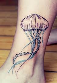 Cute jellyfish ankle tattoo