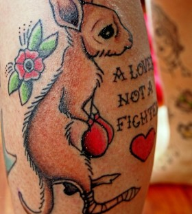 Cute kangaroo and quote tattoo