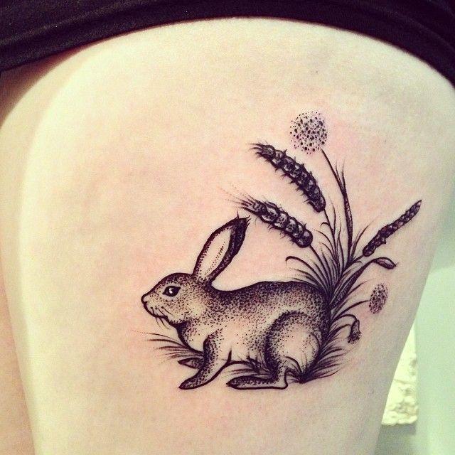 Cute rabbit tattoo by Rebecca Vincent