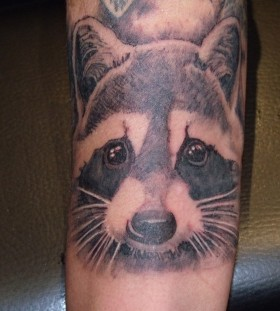 Cute raccoon arm tattoo